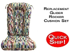 Quick Ship! Glider Rocker Cushion Set - Lipstick Fabric