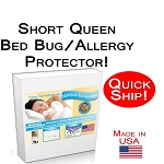 Quick Ship! Short Queen Size Allergy and Bed Bug Protection Bed Encasement