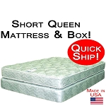 Quick Ship! Short Queen Size Abe Feller® Mattress Set GOOD