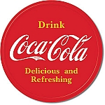 Coca Cola Button Logo Tin Sign