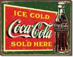 Coca Cola Ice Cold Green Tin Sign