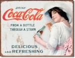Coca Cola Thru A Straw Tin Sign