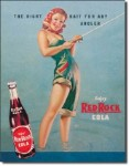 Red Rock Girl Fishing Tin Sign