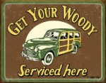 Woody Service Tin Sign