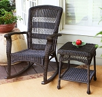 Plantation Dark Roast Wicker Outdoor Rocking Chair