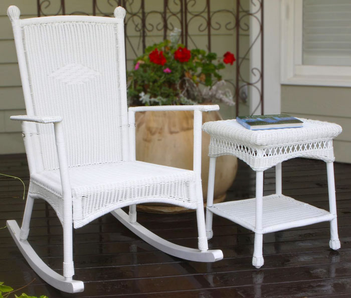 Classic Coastal White Wicker Outdoor Rocking Chair