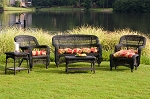 Portside Synthetic All Weather Wicker 6 Piece Dark Roast Seating Set