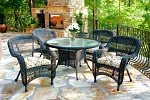 Portside Synthetic All Weather Wicker 5 Piece Dark Roast Dining Set