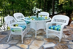 Portside Synthetic All Weather Wicker 5 Piece Costal White Dining Set