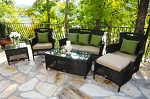 South Beach Decco Synthetic All Weather Wicker 6 Piece Deep Seating Seat Set