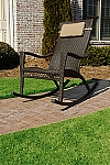 Synthetic Wicker Mahogany Color Outdoor Rocking Chair