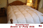 California Queen Comforter, Down, Feather Down or Poly Silk