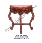 Pink Marble and Wood Console Table With Carving