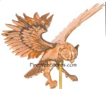 Flying Owl Three Dimensional Polished Weather Vane