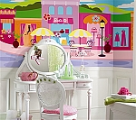 Barbie™ Boutique and Cafe XL Wall Mural 6' x 10'