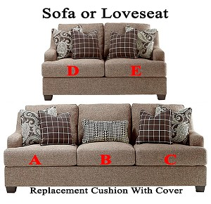 Ashley® Gypsum replacement cushion cover, 2850138 sofa or 2850135 love