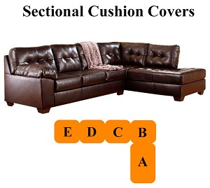 Ashley Alliston Chocolate Sectional Replacement Cushion And Cover