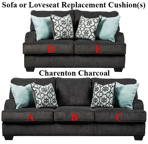 Ashley® Charenton Charcoal replacement cushion cover, 1410138 sofa or 1410135 love
