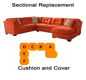 Ashley® Delta City Rust Sectional replacement cushion and cover, 19701