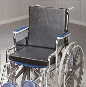 "Solid Back Insert Wheelchair Cushion 16""X16""X1.25"" W/Straps"
