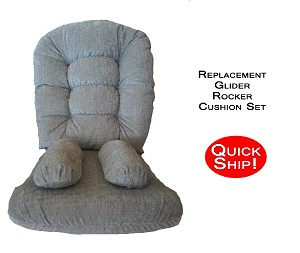 Quick Ship! Glider Rocker Cushions for Bedazzle Chair -Stone