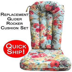 Quick Ship! Glider Rocker Cushion Set - Mood Lifter Floral Print