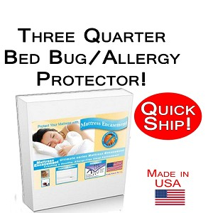 Quick Ship! Three Quarter Size Allergy and Bed Bug Protection Bed Encasement