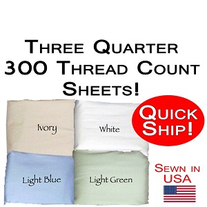Quick Ship! Luxury Three Quarter Size Sheet Set 300 Thread Count 100% Cotton