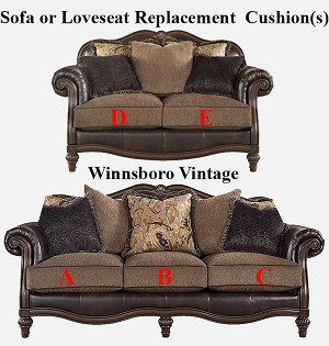 Ashley® Winnsboro Vintage replacement cushion cover, 5560238 sofa or 5560235 love
