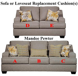 Ashley® Mandee Pewter replacement cushion cover, 9340438 sofa or 9340435 love