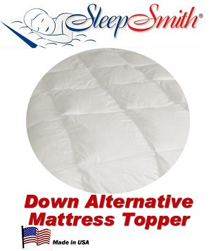 Round Bed Alternative Mattress Topper. This Topper is Completely Round (Not like shown)