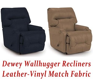Dewey Wallhugger Recliner in Leather-Vinyl Match