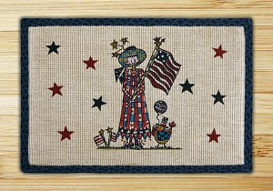 Wicker Weave Hand Print All American Girl Jute Braided Earth Rug®
