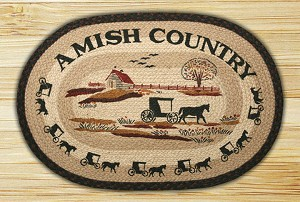 Oval Hand Printed Amish Country Deer Braided Earth Rug®