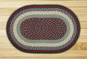 Oval Blue and Burgundy Jute Braided Earth Rug®