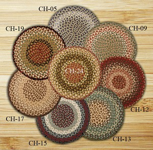 Chair Pad Blue and Natural Jute Braided Earth Rug®