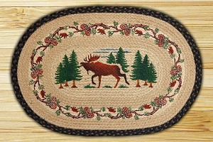 Oval Art Patch Deer Woods Braided Earth Rug®