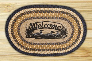 Oval Patch Welcome Loons Braided Earth Rug®