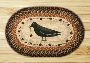 Oval Patch Crow and Star Braided Earth Rug®