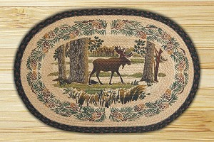 Oval Hand Printed Moose Forest Braided Earth Rug®