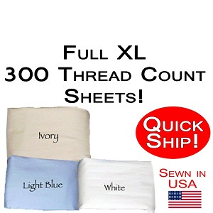 Quick Ship! Full XL Size 300 Thread Count Luxury Sheet Set