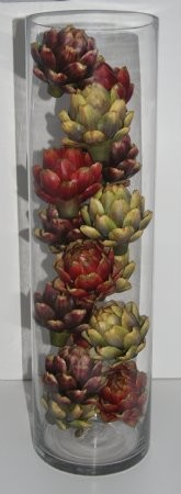 Fake Food Mixed Artichokes In Tall Glass Cylinder