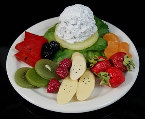 Fake Food Cottage Cheese & Fruit Plate