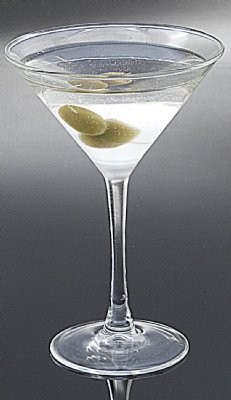 Fake Food Martini with Olives Frosted