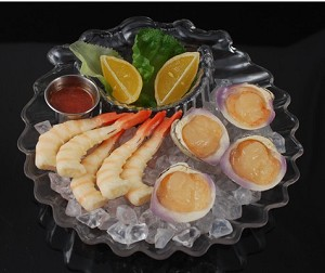 Fake Food Shrimp & Clams Platter In Scallop Shell Bowl