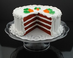 Fake Food Carrot Cake With Slice Out On Pedestal Tray