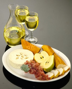 Fake Food White Wine And Fruit Cheese Assortment