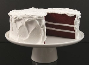 Fake Food Red Velvet Cake With Slice Out on Cake Pedestal