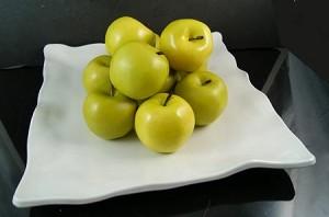 Fake Food Green Apples On Decorative Melamine Tray
