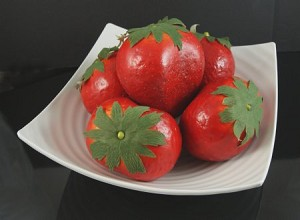 Fake Food Jumbo Strawberries In Decorative Melamine Bowl